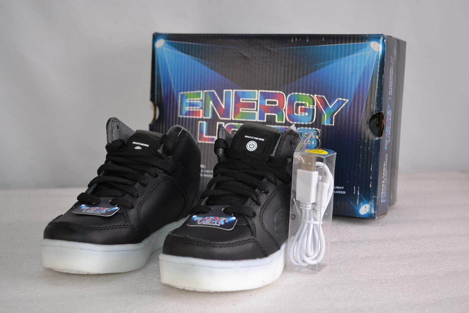 00114591d44f Skechers Energy Lights Boys Sneaker Hi Top Black Youth Sizes 90600l ...