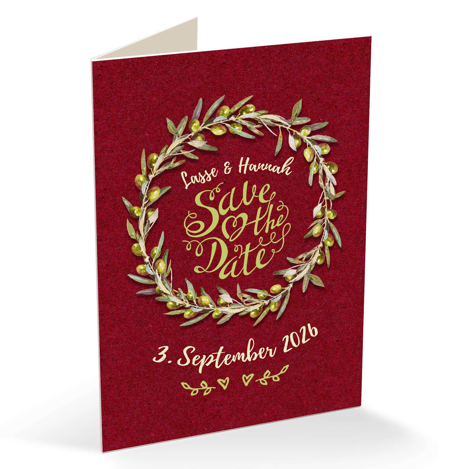 Personalisierte Einladungskarten Dankeskarten Hochzeit – Olivenzweig