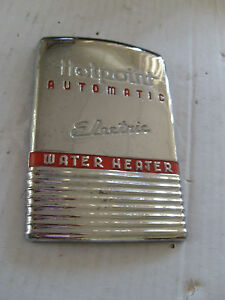 APPLIANCE-EMBLEM-HOTPOINT-ELECTRIC-WATER-HEATER-METAL-BADGE-NAME-PLATE