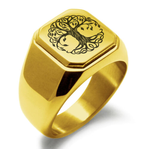 Stainless Steel Celtic Tree of Life Symbol Mens Square Biker Style Signet Ring