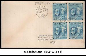 CANADA - 1947 BIRTH CENTENARY OF ALEXANDER GRAHAM BELL - BLK OF 4 - FDC