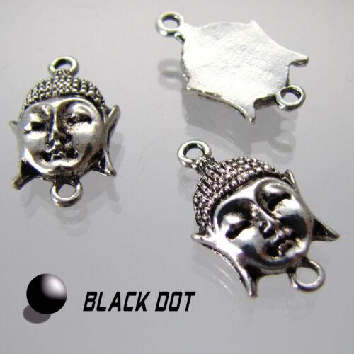 2 Stück Buddhakopf Anhänger Zwischenstück Antik Silber Metall ca. 2,0cmx1,2cm