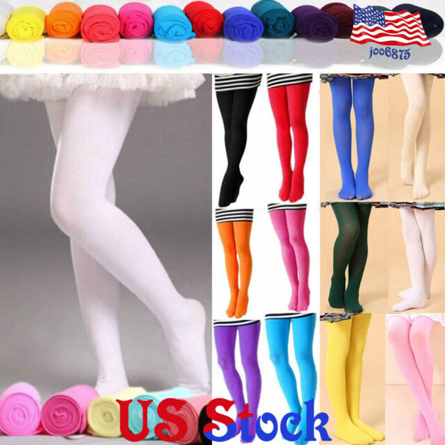 Toddler Kid Girl Solid Color Ballet Dance Stretch Pantyhose Footed Tights