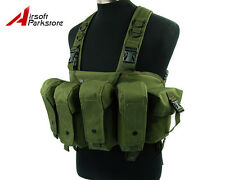 Tactical Military Airsoft Paintball Chest Rig Vest w/ 7.62 Mag Pouch Olive Drab