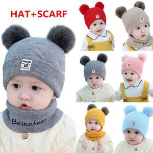 Winter Warm Knitted Crochet Beanie Hat Cap Scarf Set Baby Toddler Kids Boy Girl