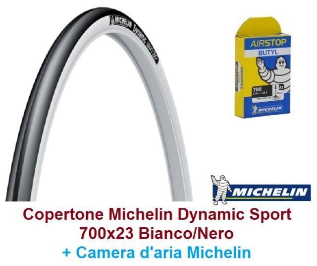 1 Copertone + Camera Michelin Dynamic Sport 700x23C Bianco per Bici 28 Condorino