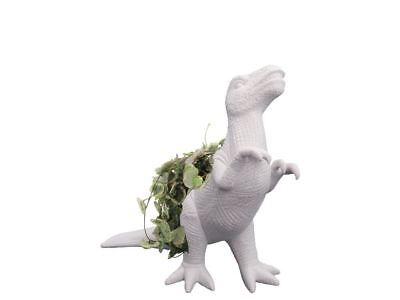 Plantosaurus Rex Pflanzengefäß Blumentopf Dinosaurier Kräuter Sukkulenten Weiß