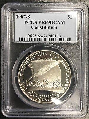 1987 S $1 Constitution Silver Commemorative Dollar PCGS PR69DCAM