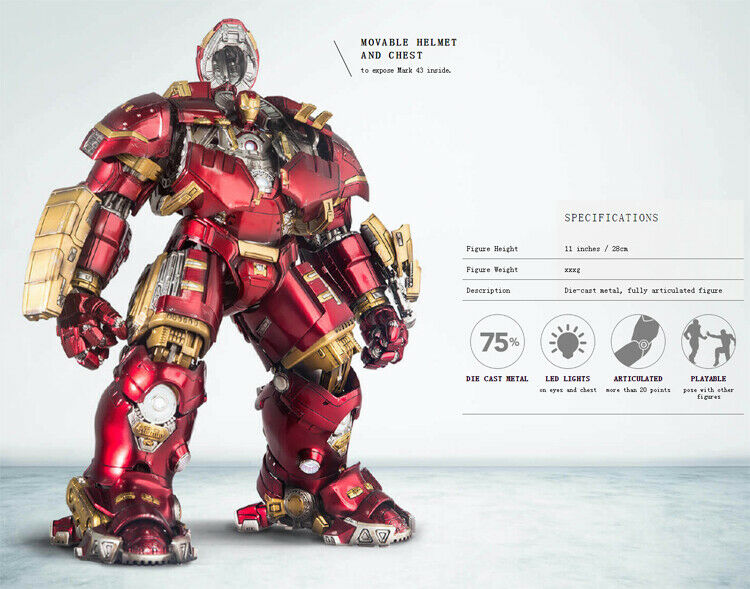 Comicave Alloy Hulkbuster Armor Iron Man Mk44 Mech Model 1 12 Action Figure Toys