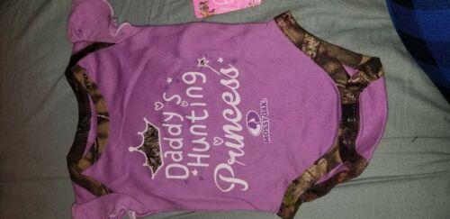 Details about  /Baby girl daddy hunting princess onesie newborn mossy oak purple