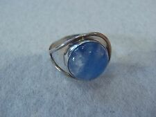 modern 925 sterling silver ring with blue cabochon stone size 7 1/2,7.5 handmade