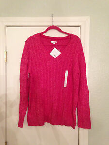 croft & barrow misses pink v neck cable knit sweater XL
