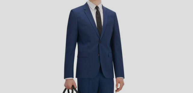 Boss Hugo New Deep Blue Mens Size 38 Regular-Fit Two Button Suit