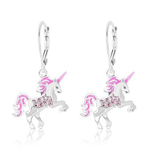 Kids Earrings White Gold Tone Pink Enamel Unicorn Crystal Silver Leverback Ebay