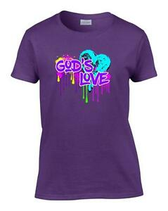 Ladies-Christian-Neon-Heart-God-039-s-Love-Women-039-s-T-Shirt