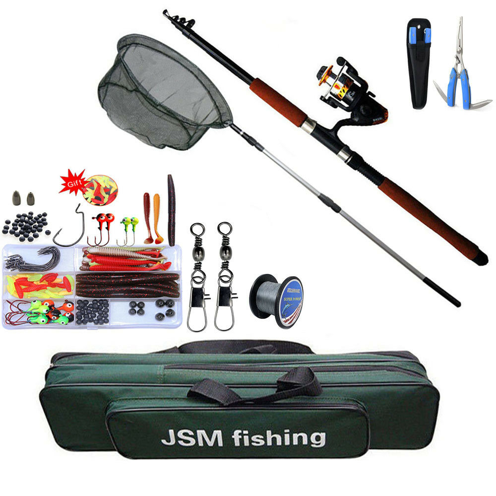 Spinning Combo Fishing Rod and Reel Hand Net  Full Set Rod Lure Line Swivel Kit  high quality & fast shipping