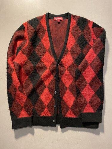 Supreme Brushed Argyle Cardigan Sz Medium Red