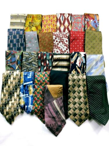 Bulk Lot 25 Men/'s Neckties Silk Polyester Striped Geometric Abstract