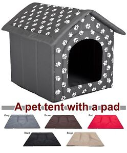Image is loading Doghouse-kennel-tent-with-pad-igloo-house-dog-  sc 1 st  eBay & Doghouse kennel tent with pad igloo house dog bed fabric indoor ...