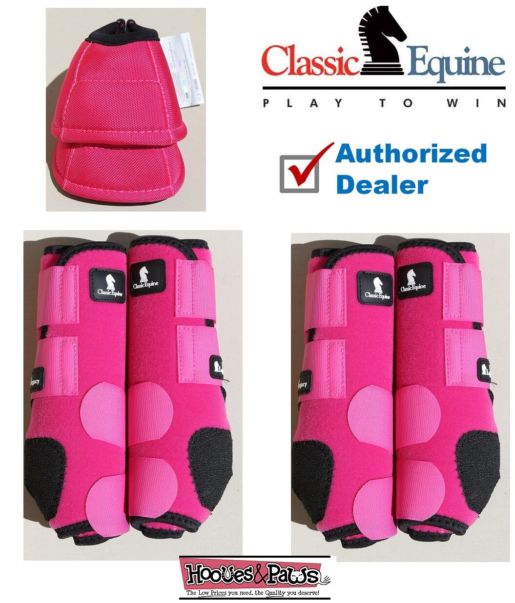 grand Fuchsia CLASSIC EQUINE Front Rear Legacy Horse Leg No Turn Bell bottes