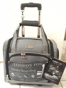 London Fog Abbey Collection Black And White Houndstooth Under Seat Rolling Bag Ebay
