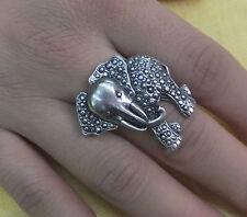 JoliKo Ring Antik Silber Elefant Wildnis Safari Glücks Elefanten Markasit Optik