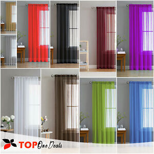 Slot-Top-Plain-Voile-Curtain-Panel-White-Black-All-Colours-Net-amp-Voile
