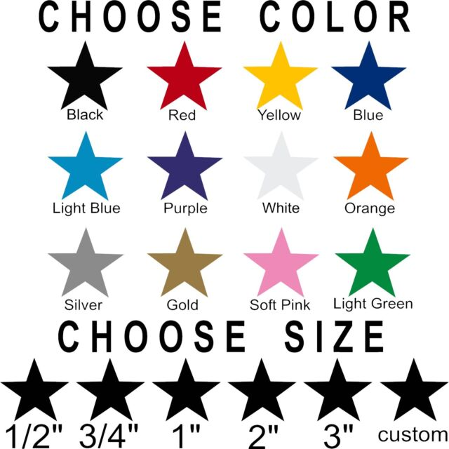 Star stickers! Pick your size and color! Permanent outdoor glossy vinyl  decals
