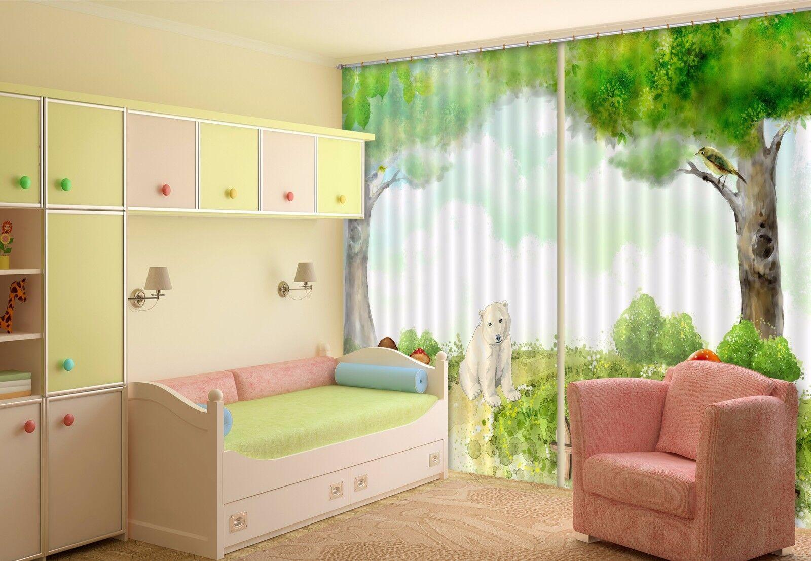3D Bosque De Oso 6 Cortinas de impresión de cortina de foto Blockout Tela Cortinas Ventana CA