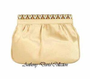 678c3c18a68 Anthony David Gold Satin Clutch Evening Bag with Swarovski Crystals ...