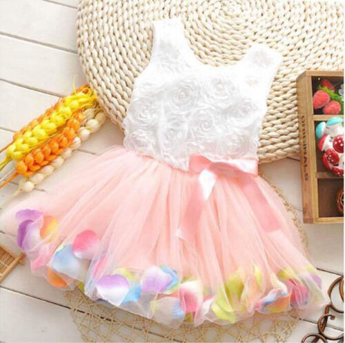 Princess Girls Party Dress Kids Infant Floral Sleeveless Wedding Tutu Lace Dress