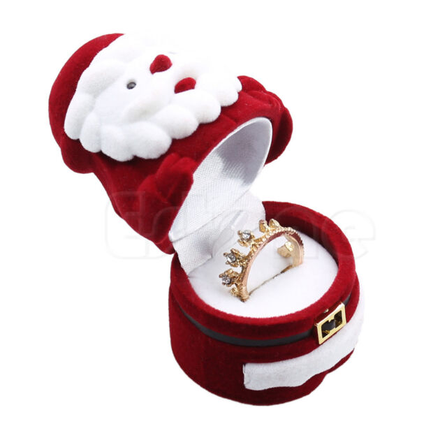 1PC Jewellery Ring Earring Necklace Case Box Santa Claus Design Christmas Gift