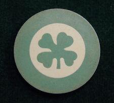 Vintage Antique Green Four Leaf Clover - Shamrock Clay Poker Chip