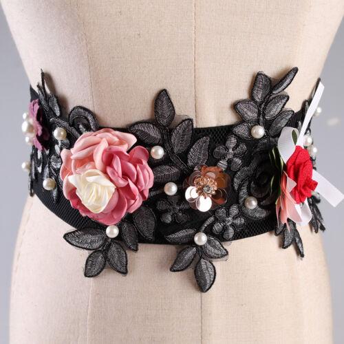 3D Floral Elastic Wide Waist Belt for Women Stretch Cinch Belt for Dress