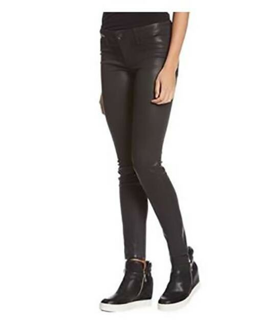 bbaf4c54a81a Buy Womens Level 99 Black Mid Rise Coated SKINNY Jeans Pants Size 28 ...