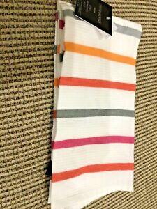 CYNTHIA ROWLEY SET OF 2 KITCHEN TOWELS WHITE ORANGE SHELLS 100/%  COTTON NWT
