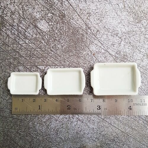3 Size White Square Ceramic Tray Dollhouse Miniatures Food Supply Barbie Decor