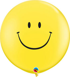 2-x-LARGE-SMILE-FACE-BALLOONS-3ft-91cm-QUALATEX-BALLOONS-TWO-BALLOONS