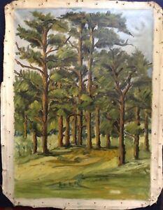 Tableau-ancien-impressionniste-proche-OTHON-FRIEZ-Paysage-Sous-bois-Huile-toile