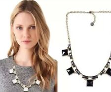 Rose & Peony British Statement Necklace Black Square Details