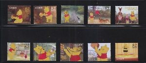 JAPAN-2014-DISNEY-CHARACTERS-WINNIE-THE-POON-82-YEN-COMP-SET-OF-10-STAMPS-USED