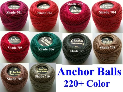 Choose from 185 Colors 10 ANCHOR Pearl Cotton Crochet 8 Embroidery Thread Balls