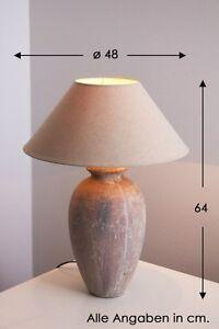 Lampada da tavolo comodino ceramica beige antico tessuto design ...