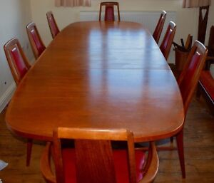 Image Is Loading Vintage Extendable Teak Dining Table And 8 Chairs