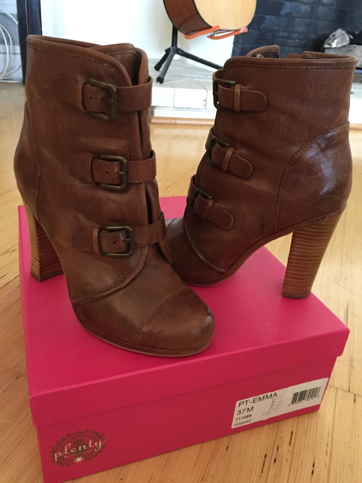 Plenty By Tracy Reese Cognac Leather Ankle Emma Boot - Size 37 (size 6.5-7)