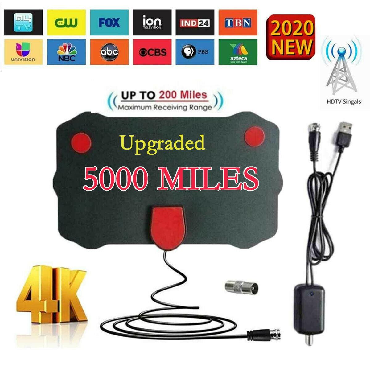 3600 Mile Aerial Signal Amplifier Range HDTV Antenna 4K HD Indoor Digital TV USA. Available Now for 7.50