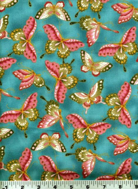 Fabric #2000 Pink Green Butterflies on Teal Metallic Kona Bay, Sold by 1/2 Yard