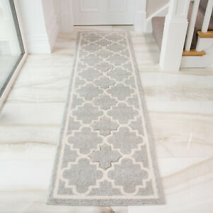 Details About Modern Soft Silver Grey Moroccan Trellis Rug Long Narrow Thin Hallway Runners Uk