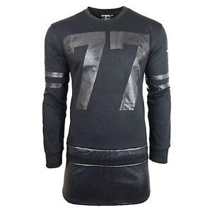 Men-Long-Sleeve-Shirt-Longline-Tall-Side-Zipper-77-Leather-America-Flag
