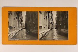 Italia Venezia Un Canal c1900 Foto Stereo Vintage Analogica